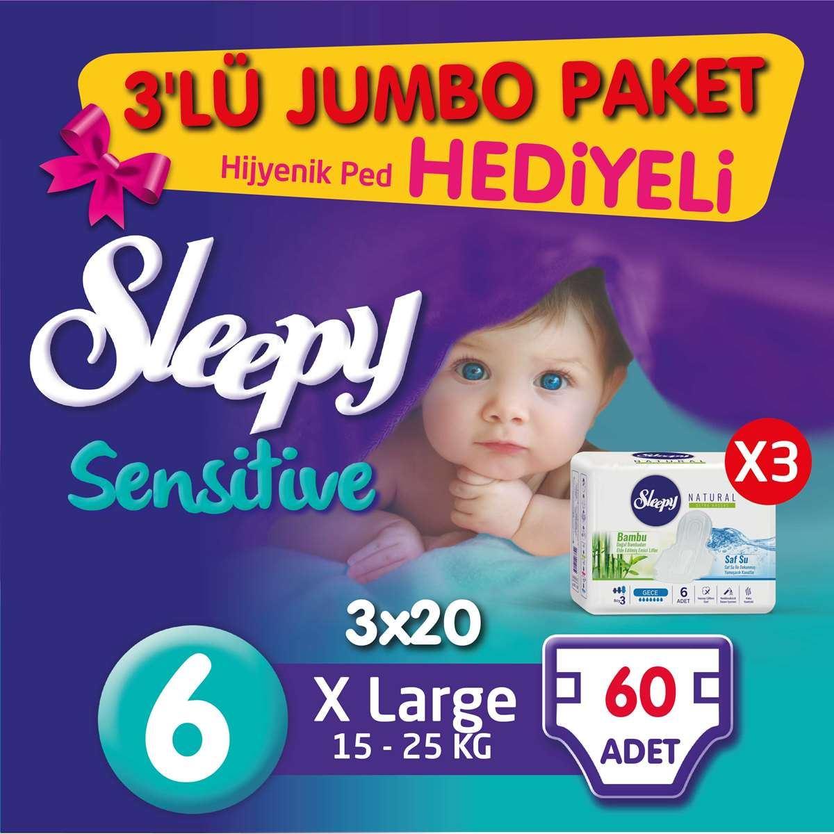 3'lü Jumbo Sleepy Sensitive Pepee Xlarge 6 Numara Bebek Bezi