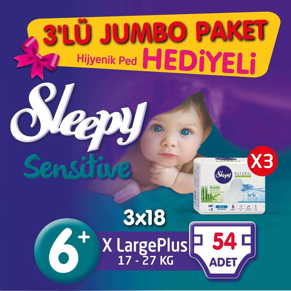 3'lü Jumbo Sleepy Sensitive Pepee Xlarge Plus 6+ Numara Bebek Bezi