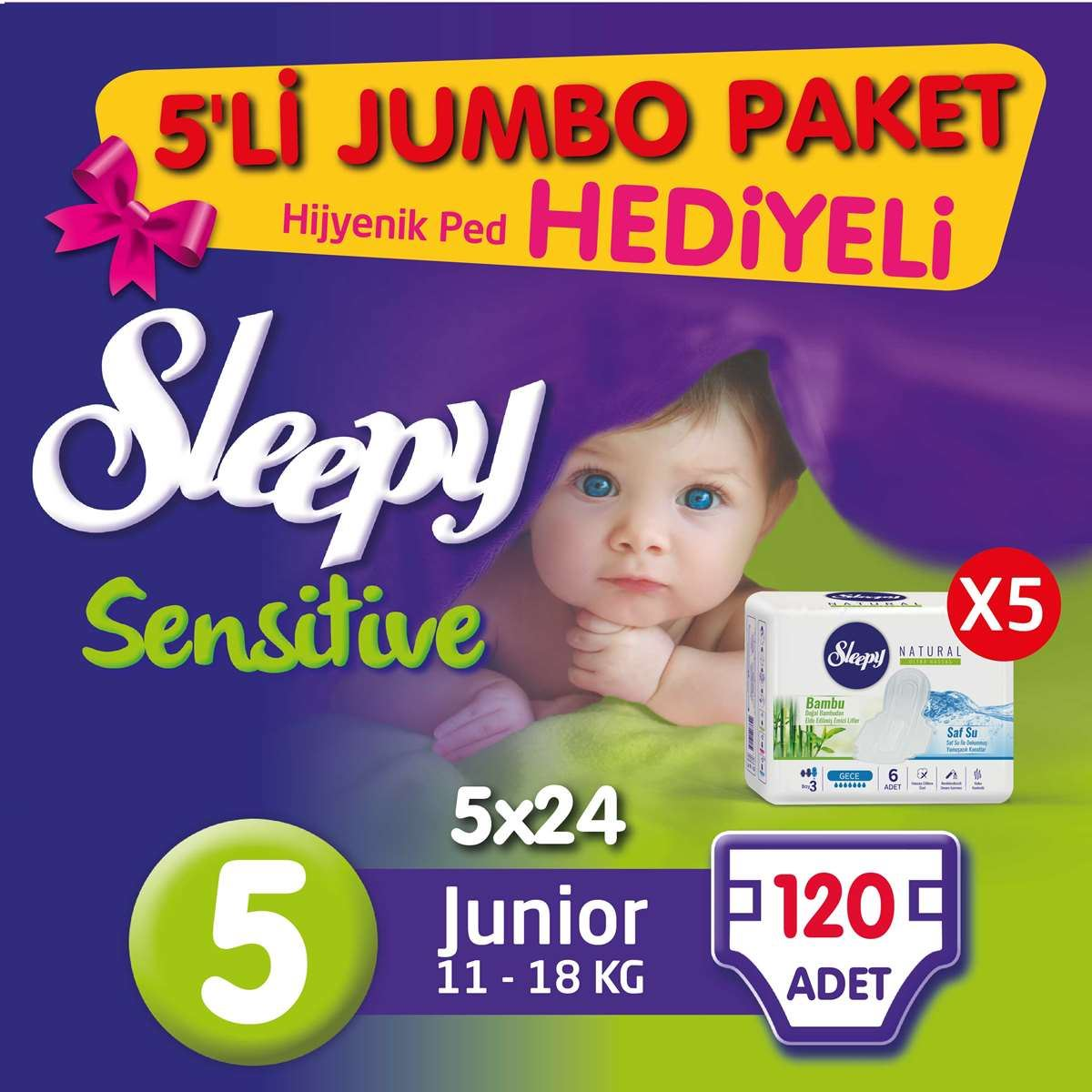 5'li Jumbo Sleepy Sensitive Pepee Junior 5 Numara Bebek Bezi