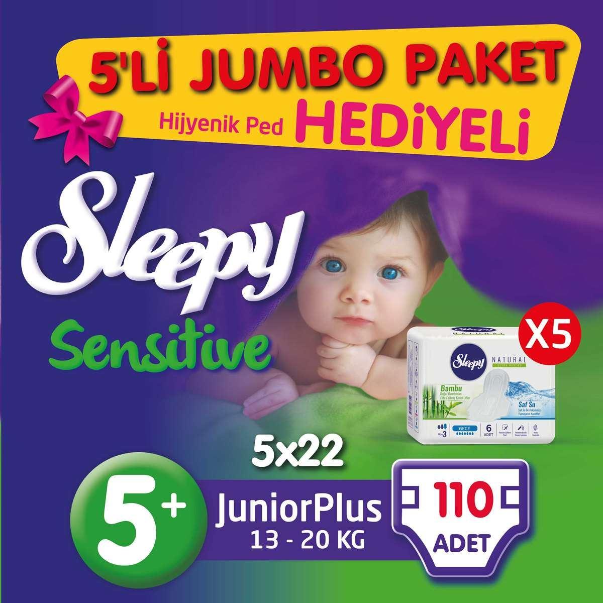 5'li Jumbo Sleepy Sensitive Pepee Junior Plus 5+ Numara Bebek Bezi