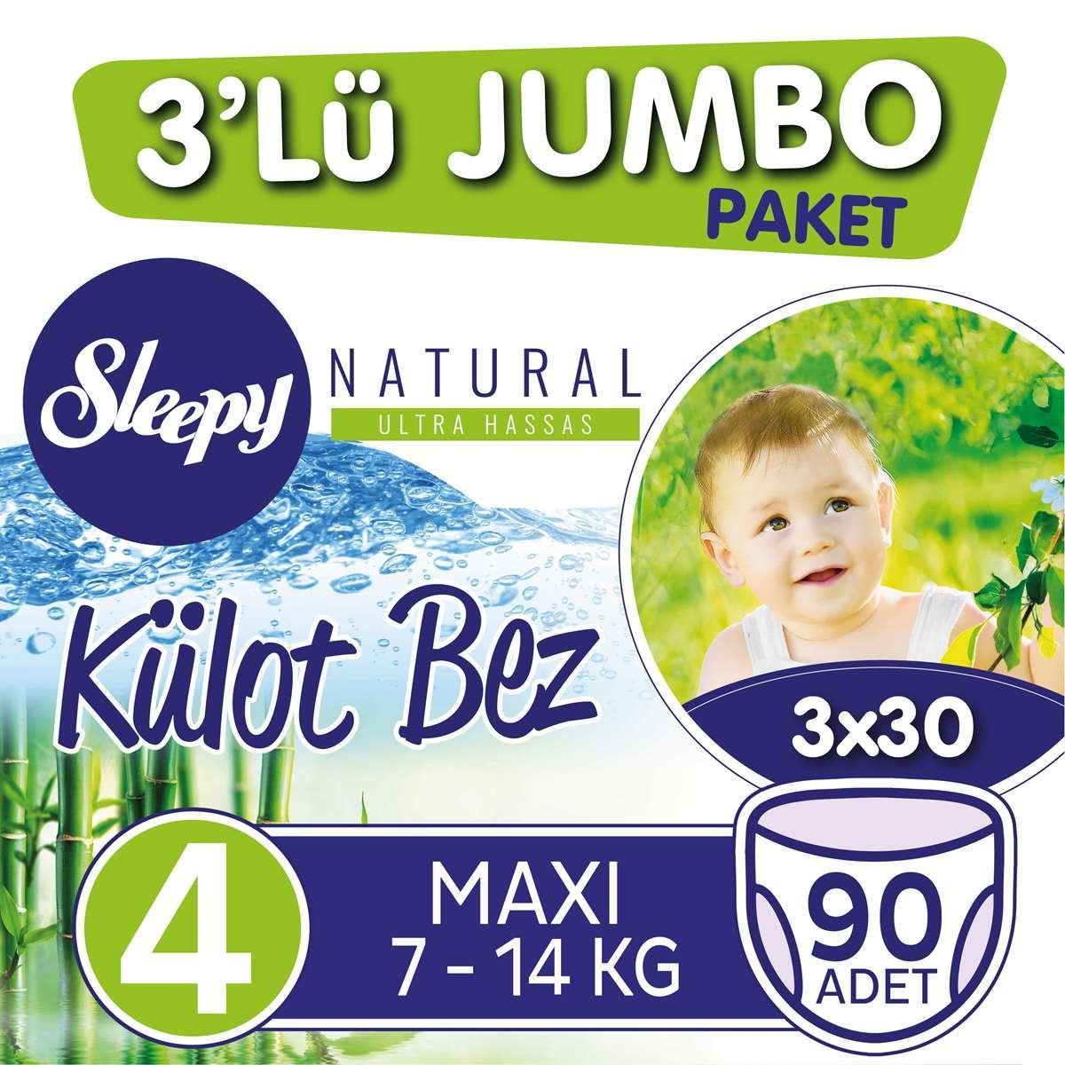 3'lü Jumbo Sleepy Natural Külot Bez 4 Numara Maxi