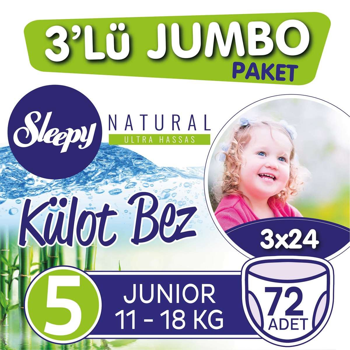 3'lü Jumbo Sleepy Natural Külot Bez 5 Numara Junior
