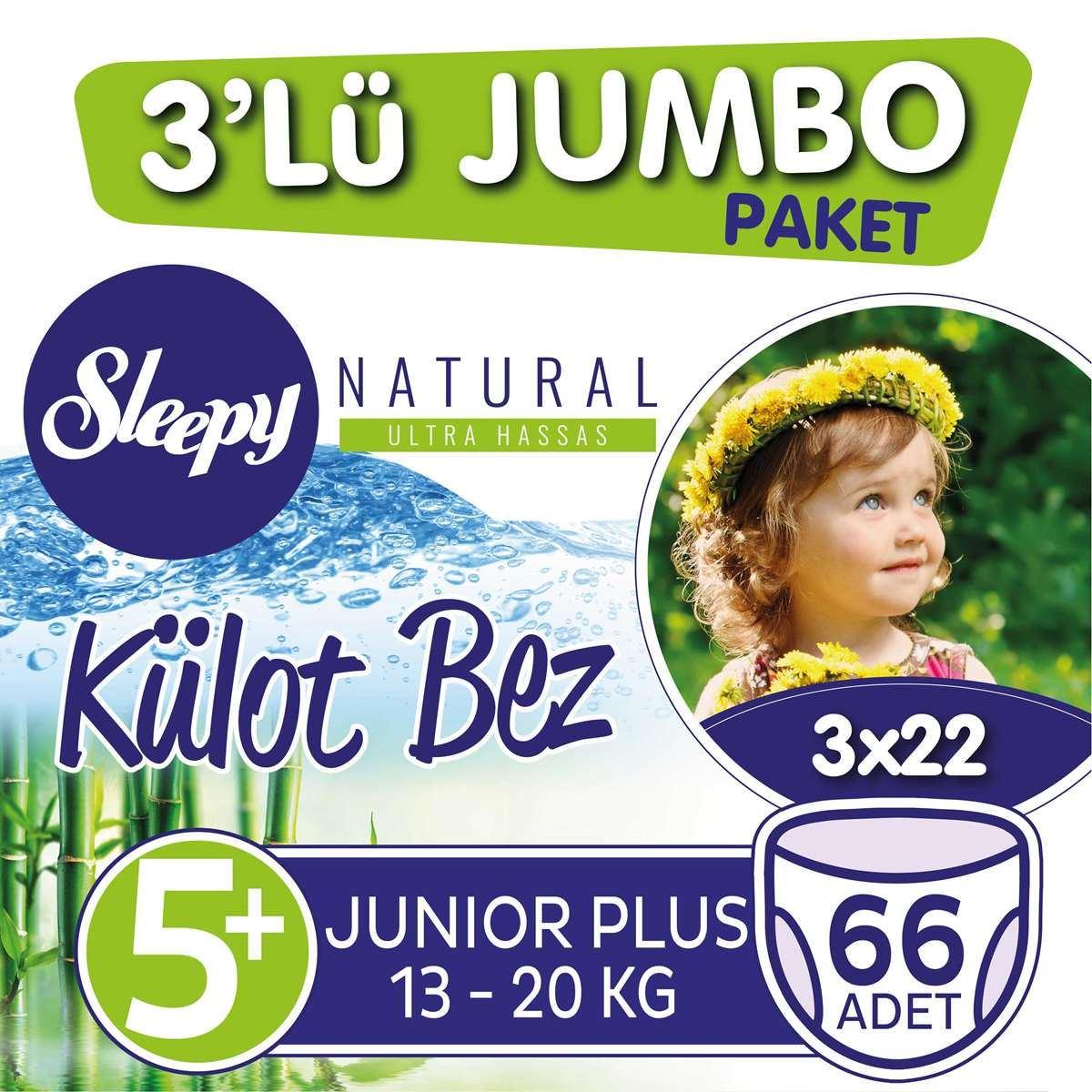 3'lü Jumbo Sleepy Natural Külot Bez 5+ Numara Junior Plus