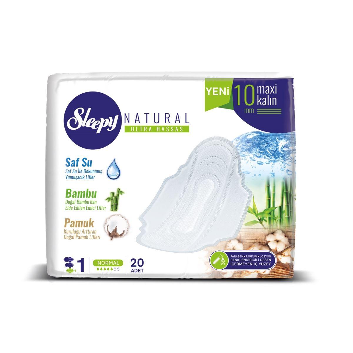 Sleepy Natural Ultra Hassas Maxi Kalın NORMAL (20 Ped) SÜPER EKO