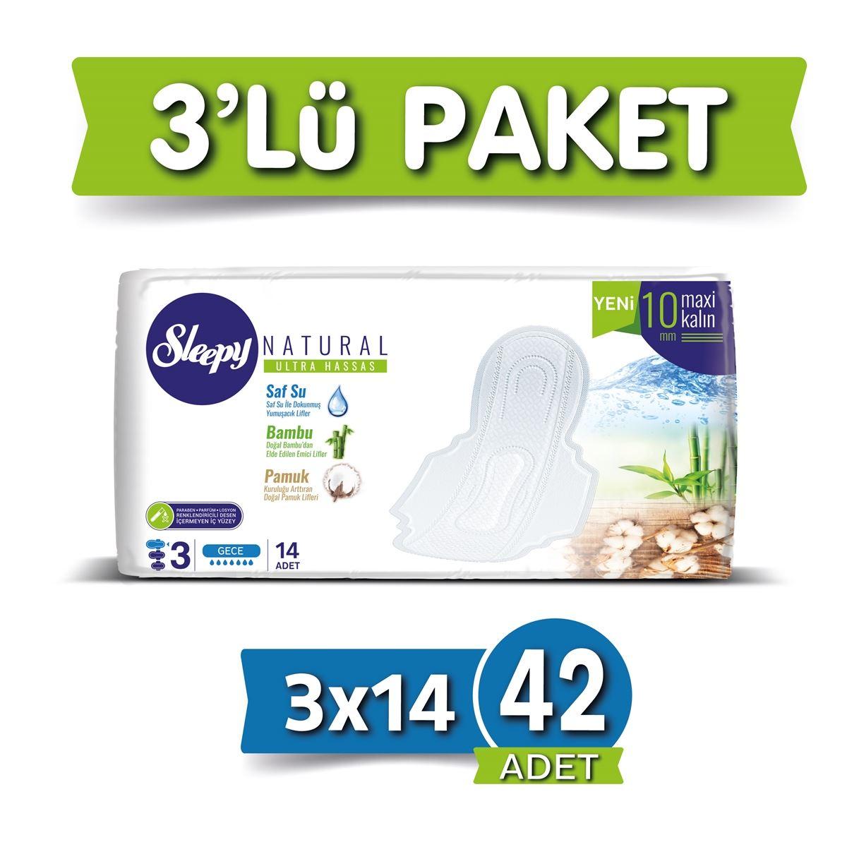 Sleepy Natural Ultra Hassas Maxi Kalın GECE(3x14) SÜPER EKO