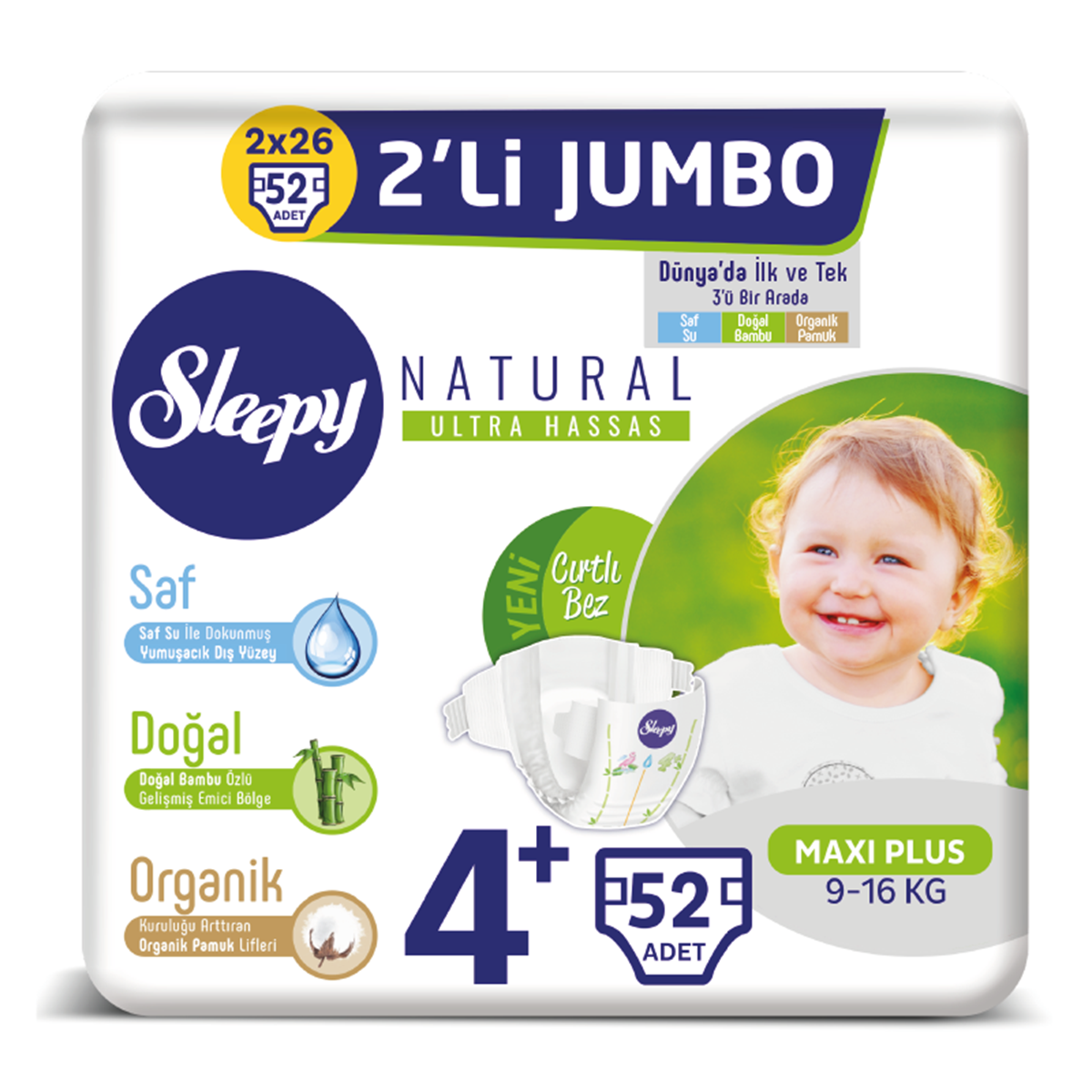 Sleepy Natural Bebek Bezi 4+ Numara Maxi Plus 2'Lİ JUMBO 52 Adet