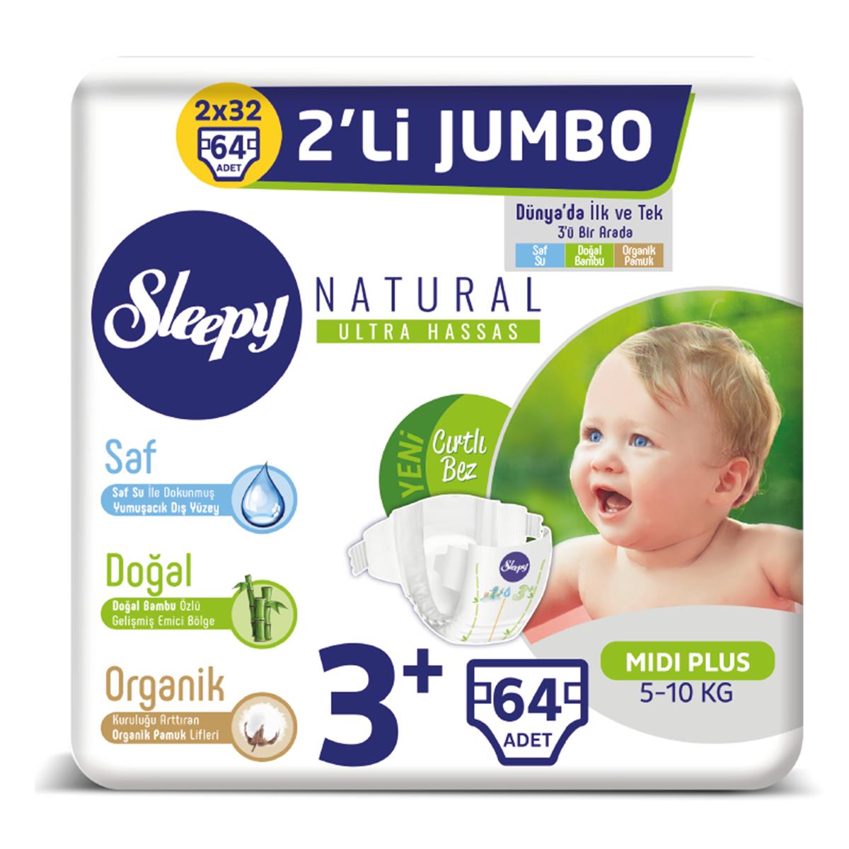 Sleepy Natural Bebek Bezi 3+ Numara Midi Plus 2'Lİ JUMBO 64 Adet