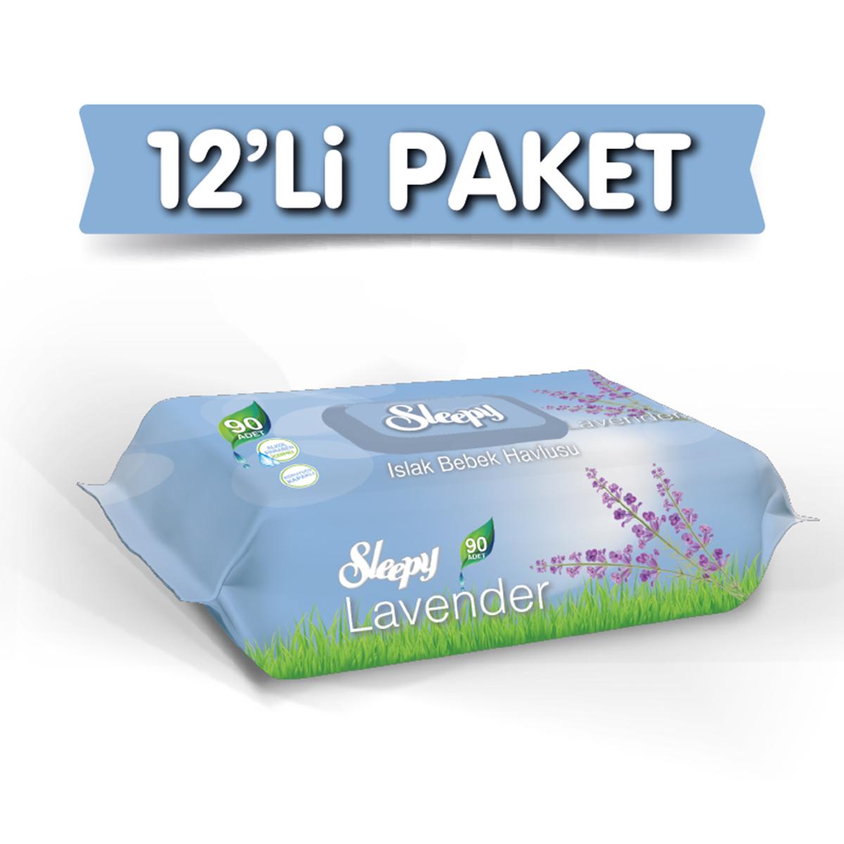 Sleepy Lavanta Kokulu Islak Havlu 12X90 lı