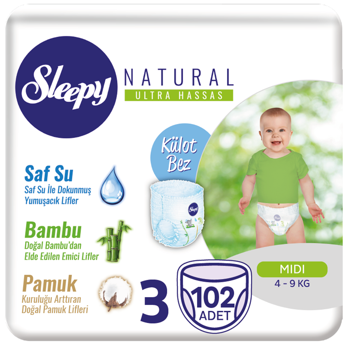 Sleepy Natural KÜLOT Bez 3 Numara Midi 102 Adet