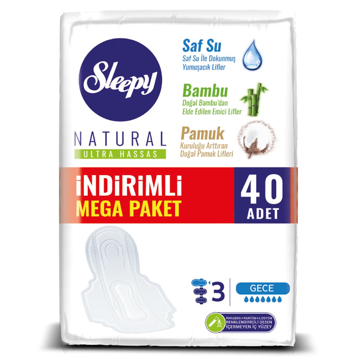 Sleepy Natural Ultra Hassas GECE (40 Ped) MEGA PAKET