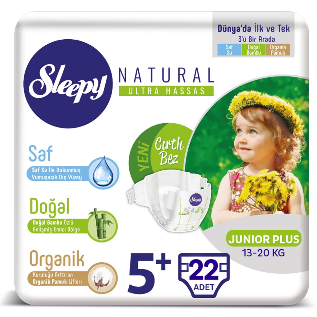 Sleepy Natural Bebek Bezi 5+ Numara Junior Plus 22 Adet