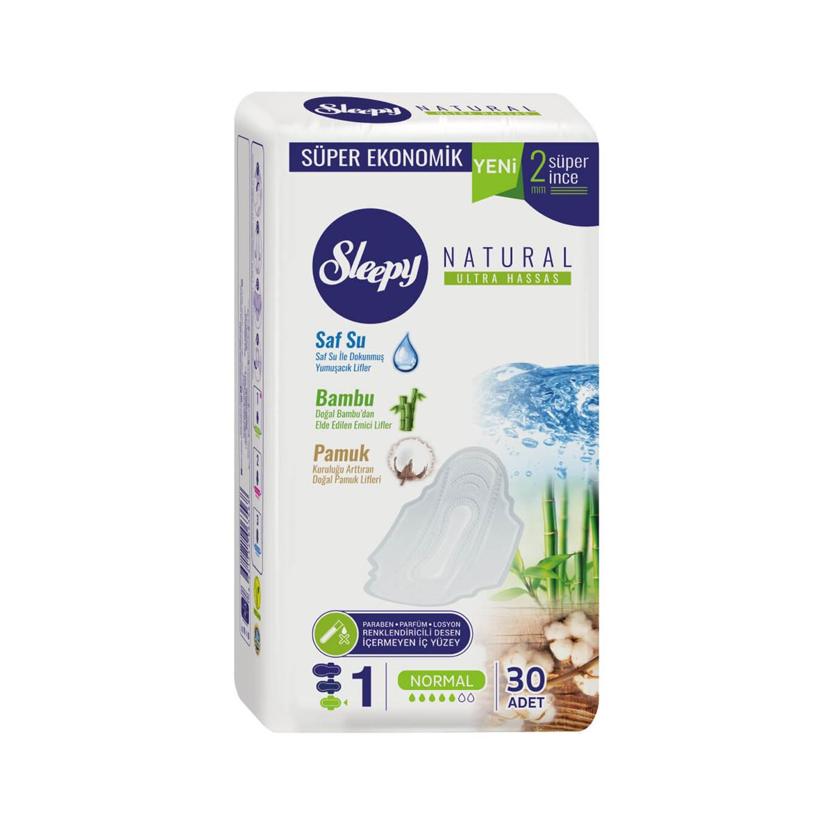Sleepy Natural Ultra Hassas NORMAL (30 Ped) SÜPER EKO