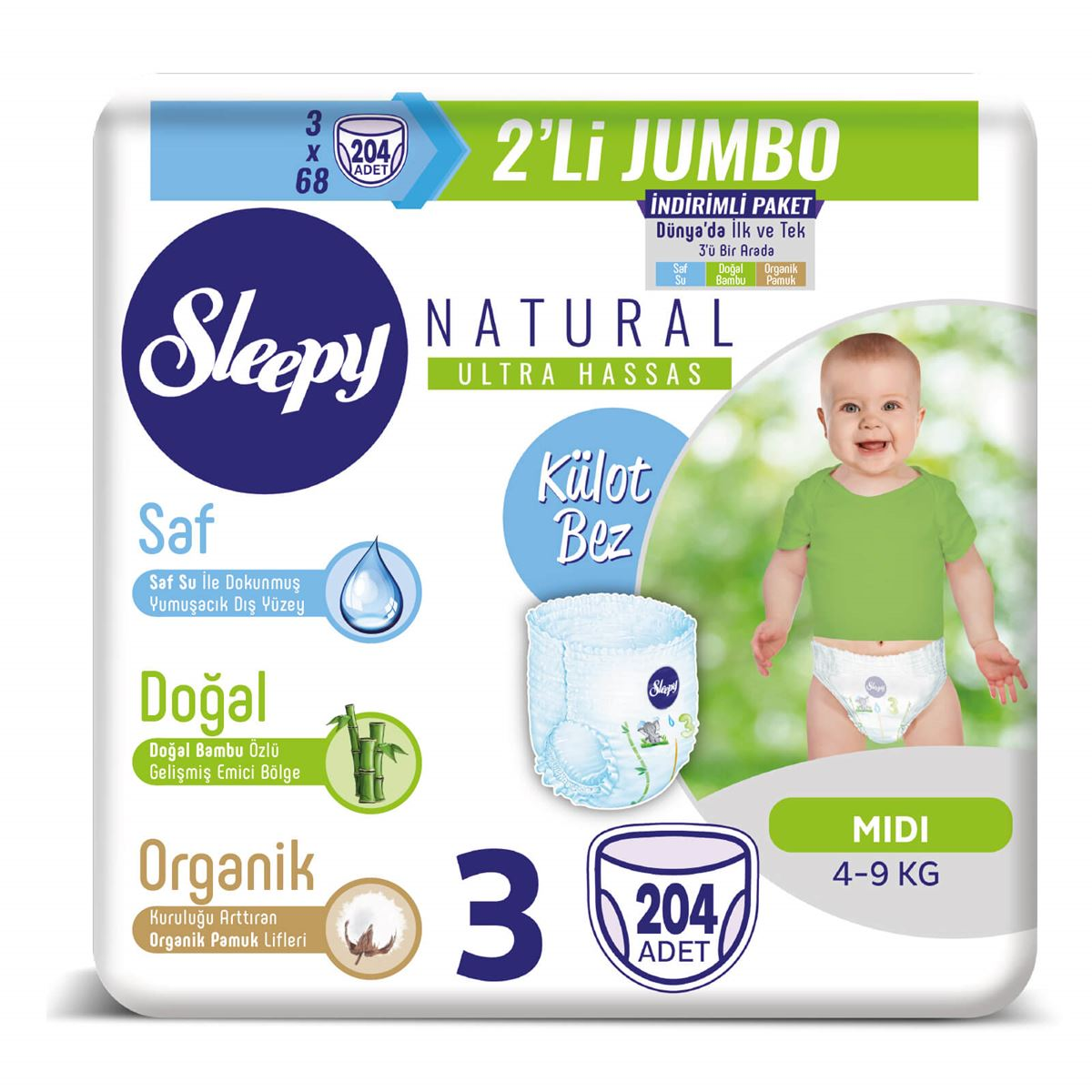Sleepy Natural Külot Bez 3 Numara Midi 3X2'Lİ JUMBO