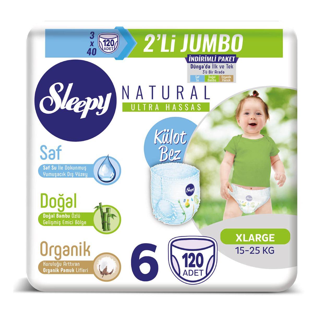 Sleepy Natural Külot Bez 6 Numara Xlarge 3X2'Lİ JUMBO