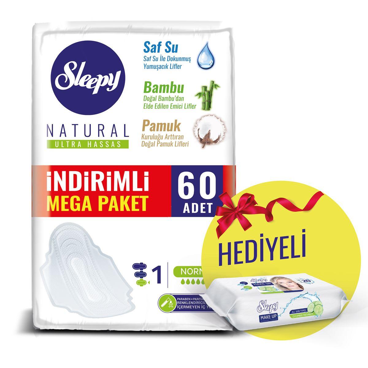 Sleepy Natural Ultra Hassas NORMAL (60 Ped) MAKEUP HEDİYELİ