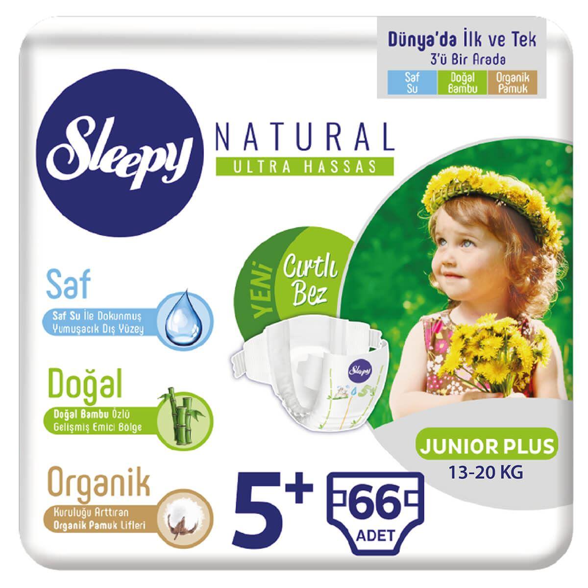 Sleepy Natural Bebek Bezi 5+ Numara Junior Plus 66 Adet