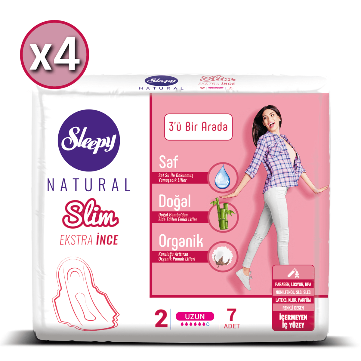 Sleepy Natural Slim Ekstra İnce Uzun (4X7 Ped)