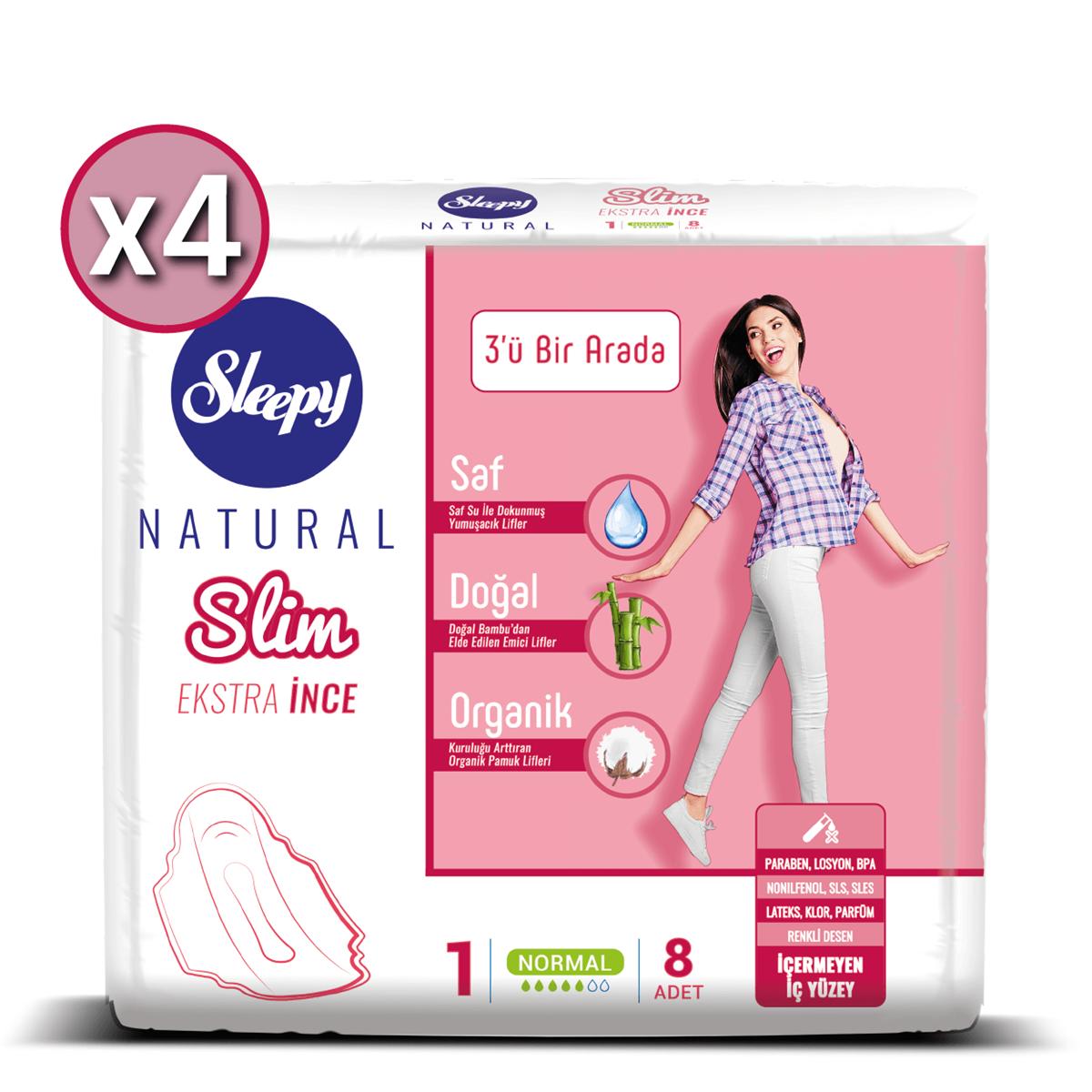 Sleepy Natural Slim Ekstra İnce Normal (4X8 Ped)