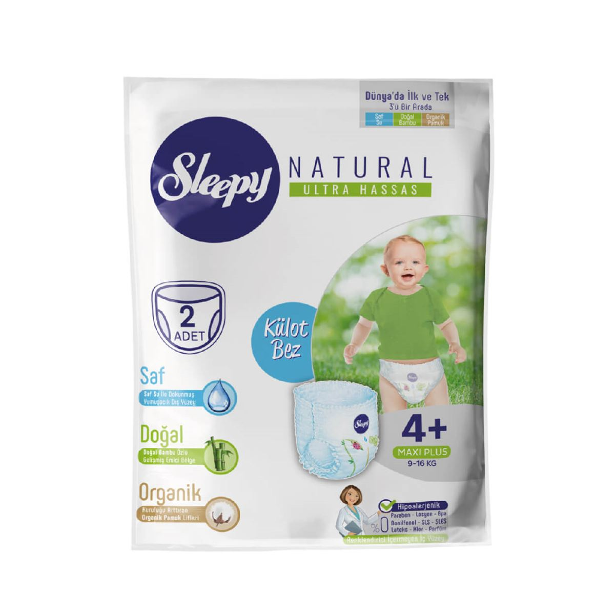 Deneme Paketi Sleepy Natural Külot Bez 4+ Numara Maxi Plus