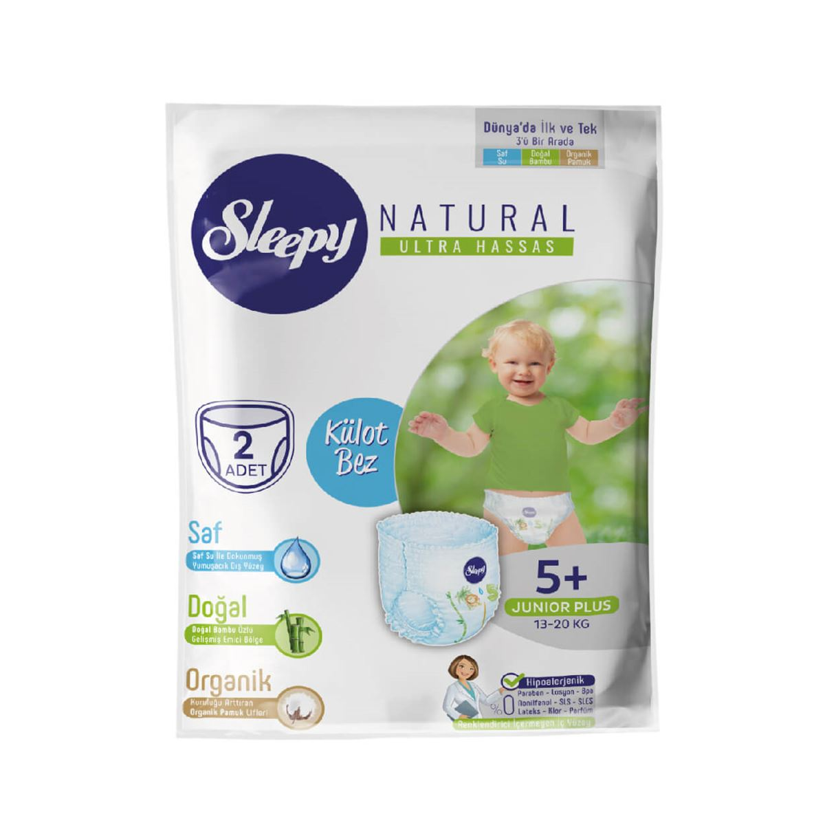 Deneme Paketi Sleepy Natural Külot Bez 5+ Numara Junior Plus
