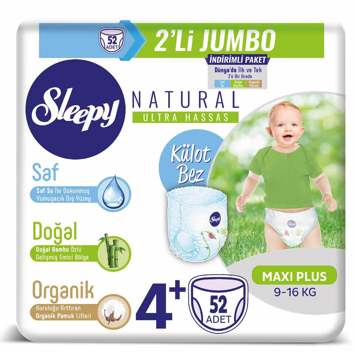 Sleepy Natural KÜLOT Bez 4+ Numara Maxi Plus 2'Lİ JUMBO 52 Adet
