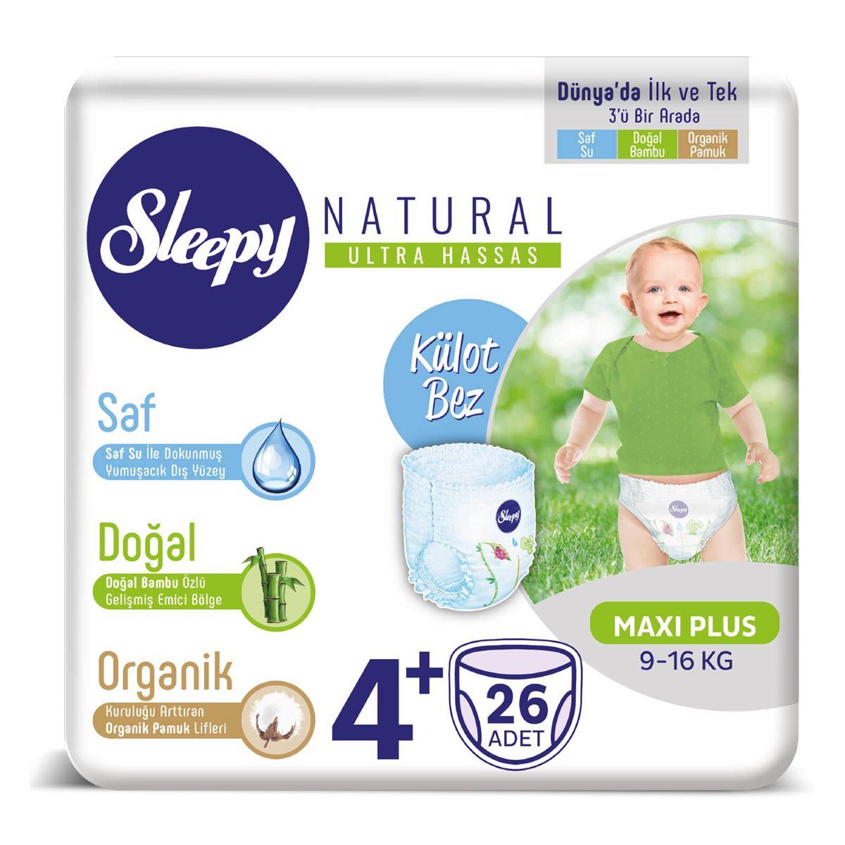 Sleepy Natural KÜLOT Bez 4+ Numara Maxi Plus 26 Adet