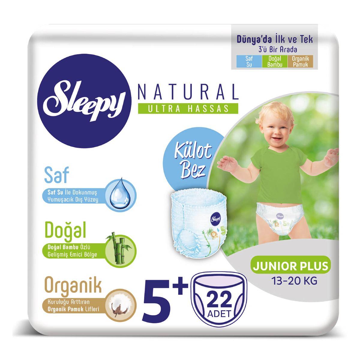 Sleepy Natural KÜLOT Bez 5+ Numara Junior Plus 22 Adet