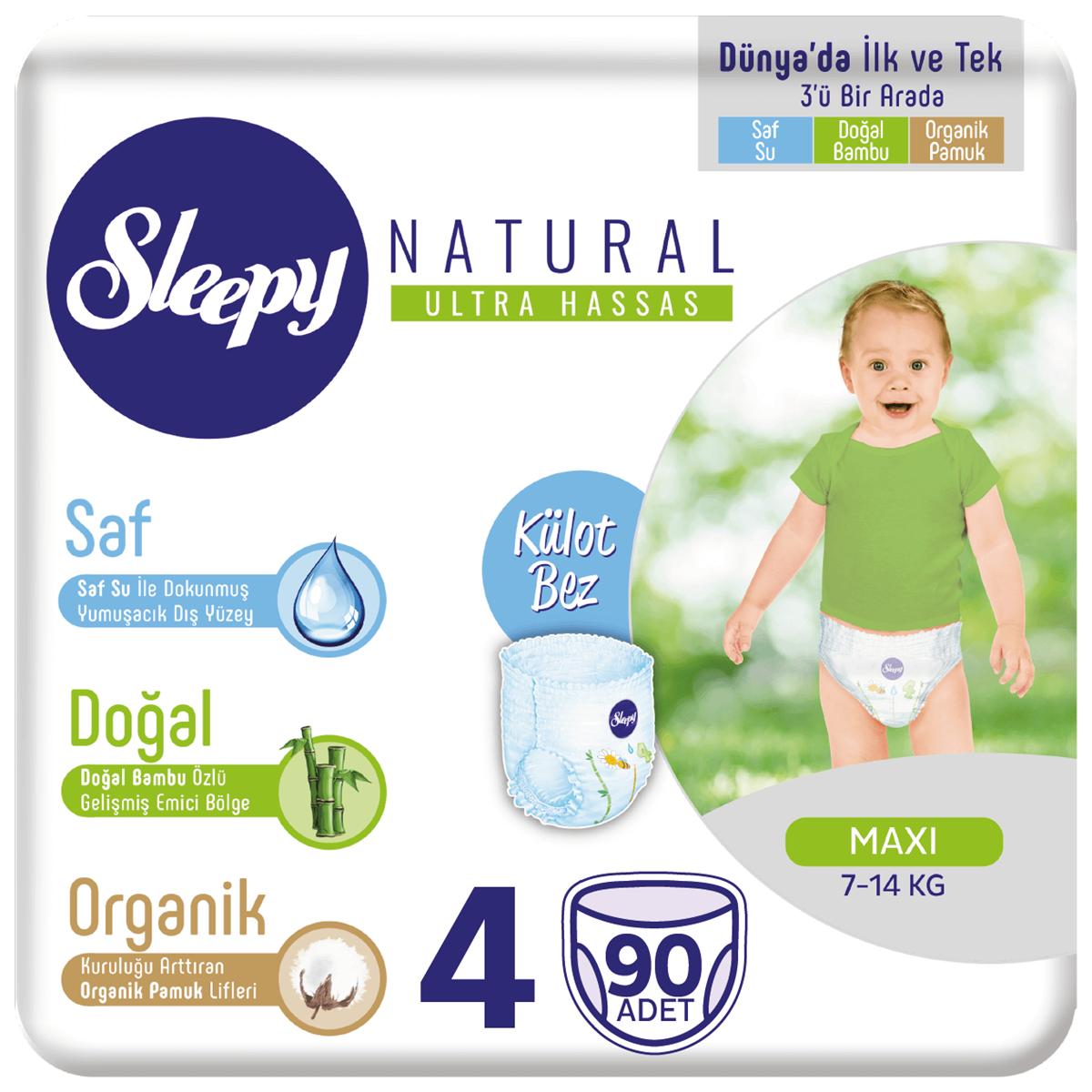 Sleepy Natural KÜLOT Bez 4 Numara Maxi 90 Adet
