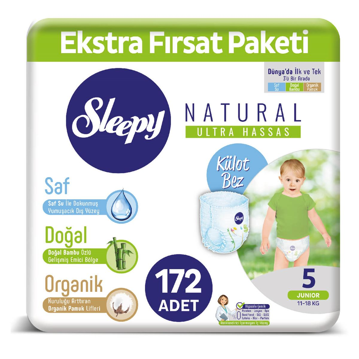 Sleepy Natural KÜLOT Bez 5 Numara Junior Ekstra Fırsat Paketi 172 Adet