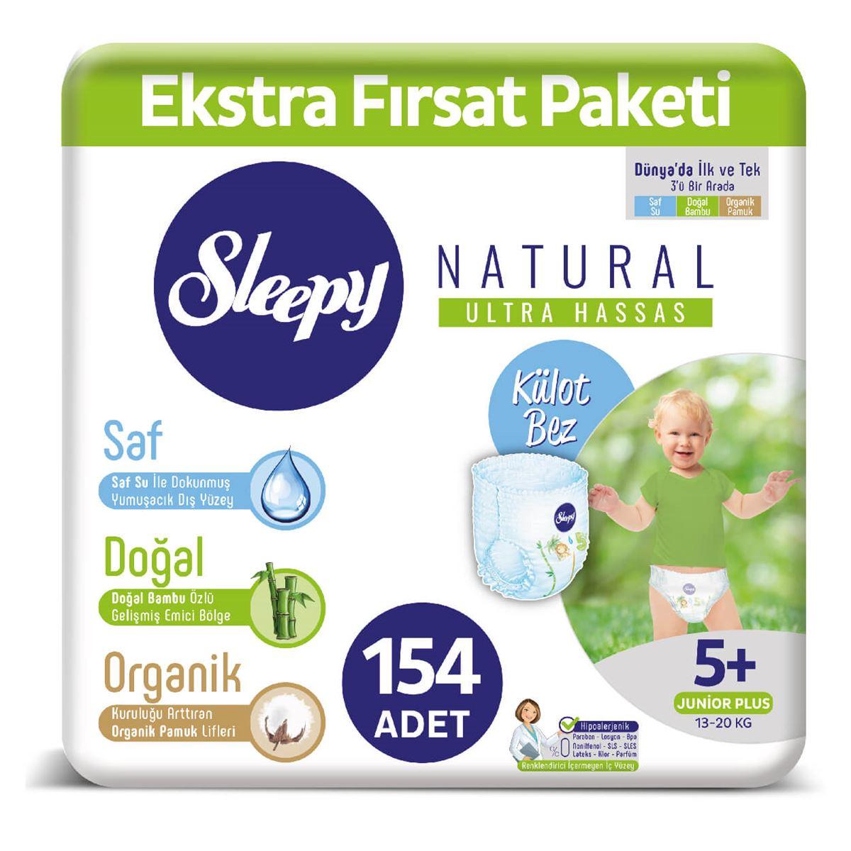 Sleepy Natural KÜLOT Bez 5+ Numara Junior Plus Ekstra Fırsat Paketi 154 Adet