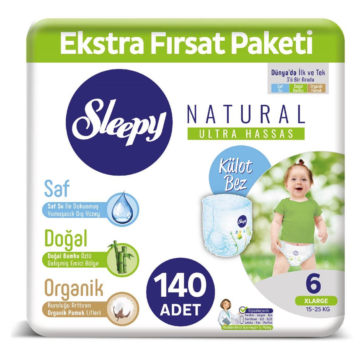 Sleepy Natural KÜLOT Bez 6 Numara Xlarge Ekstra Fırsat Paketi 140 Adet