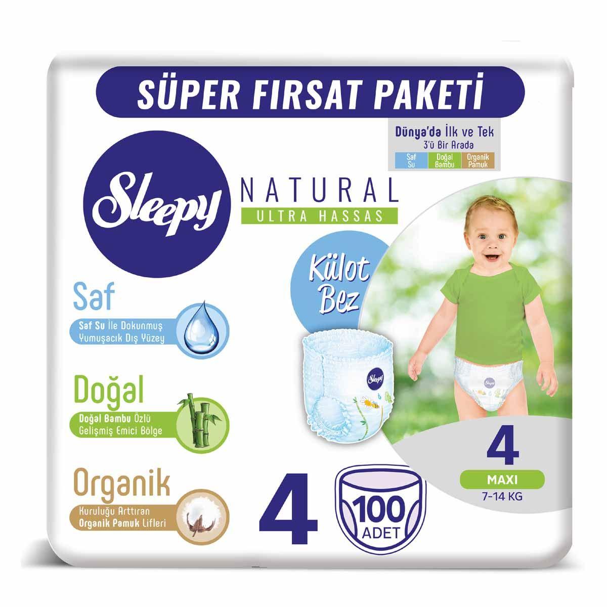 Sleepy Natural KÜLOT Bez 4 Numara Maxi 100 Adet