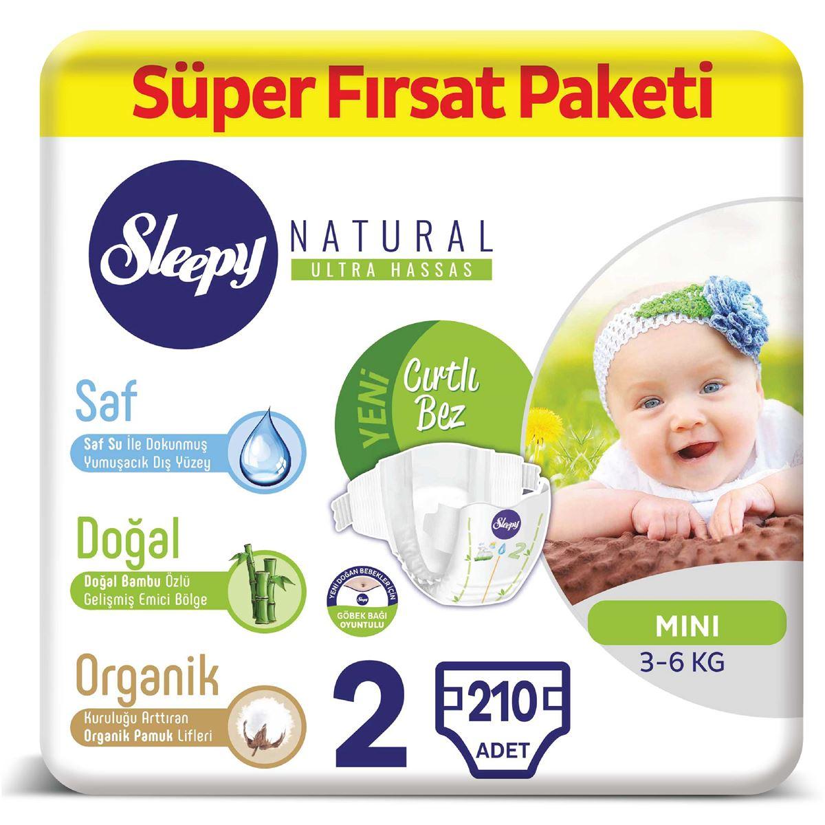 Sleepy Natural Bebek Bezi 2 Numara Mini Süper Fırsat Paketi 210 Adet