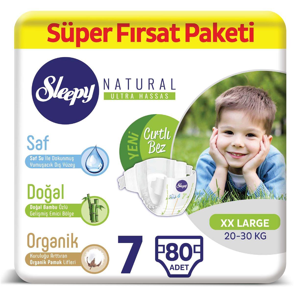 Sleepy Natural Bebek Bezi 7 Numara XXLarge Süper Fırsat Paketi 80 Adet