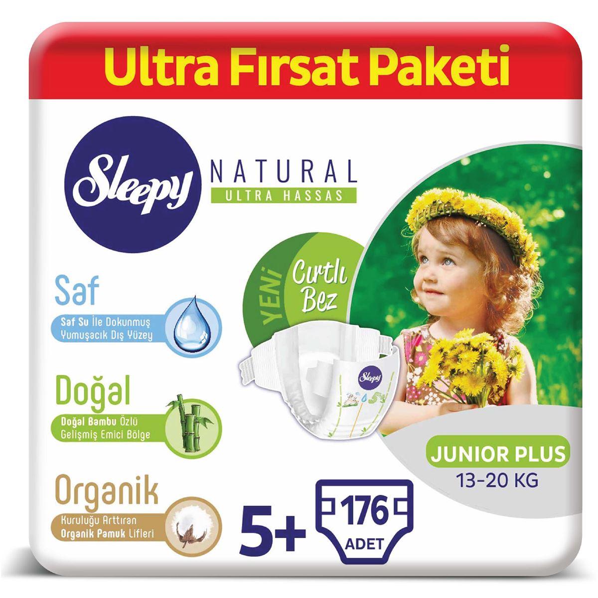 Sleepy Natural Bebek Bezi 5+ Numara Junior Plus Ultra Fırsat Paketi 176 Adet