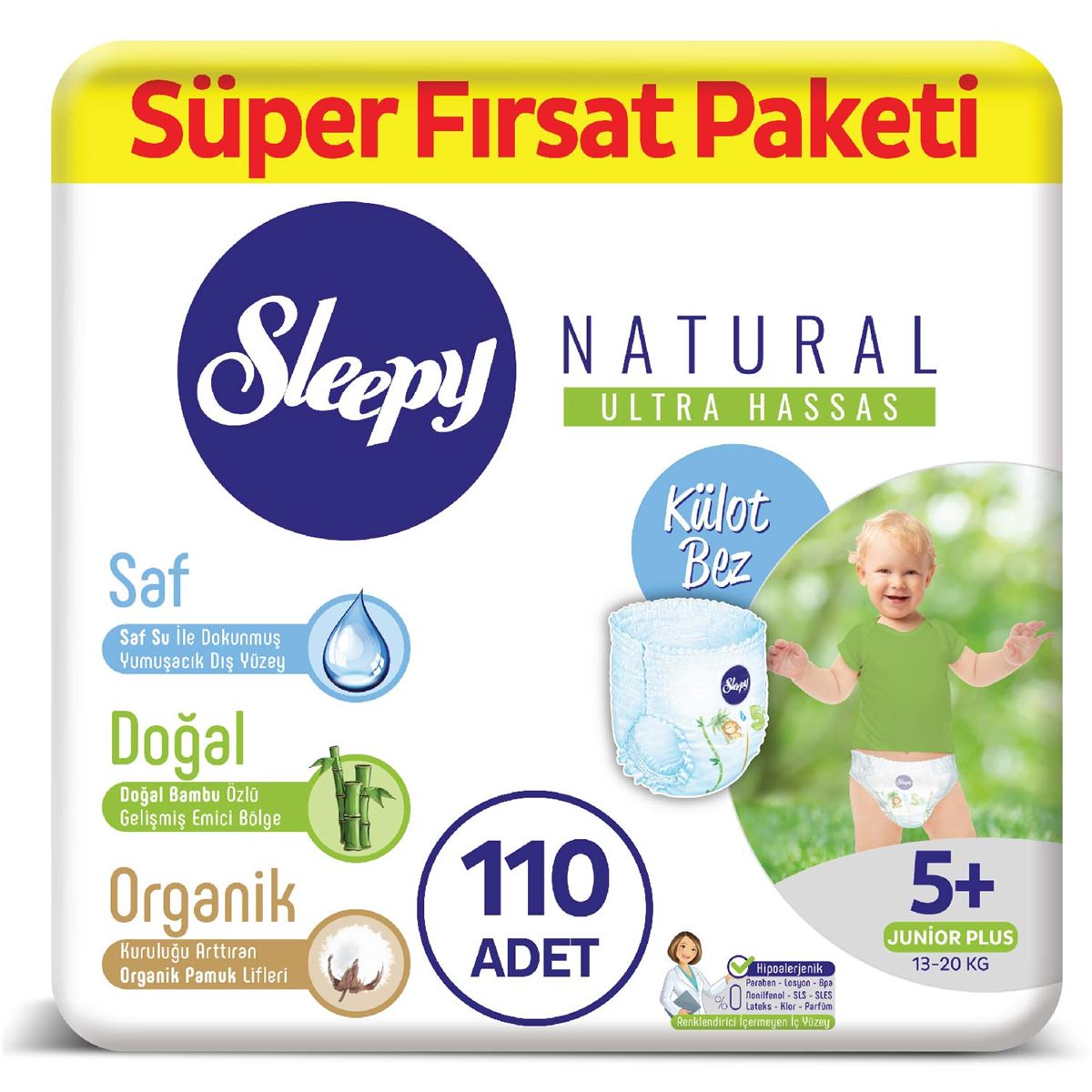Sleepy Natural Külot Bez 5+ Numara Junior Plus Süper Fırsat Paketi 110 Adet