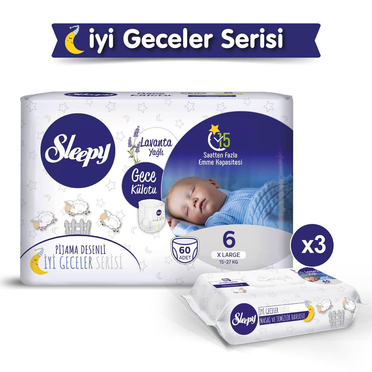 Sleepy Gece Külotu 6 Numara Xlarge 60 Adet + Lavanta Yağlı Masaj Ve Temizlik Havlusu 3X40