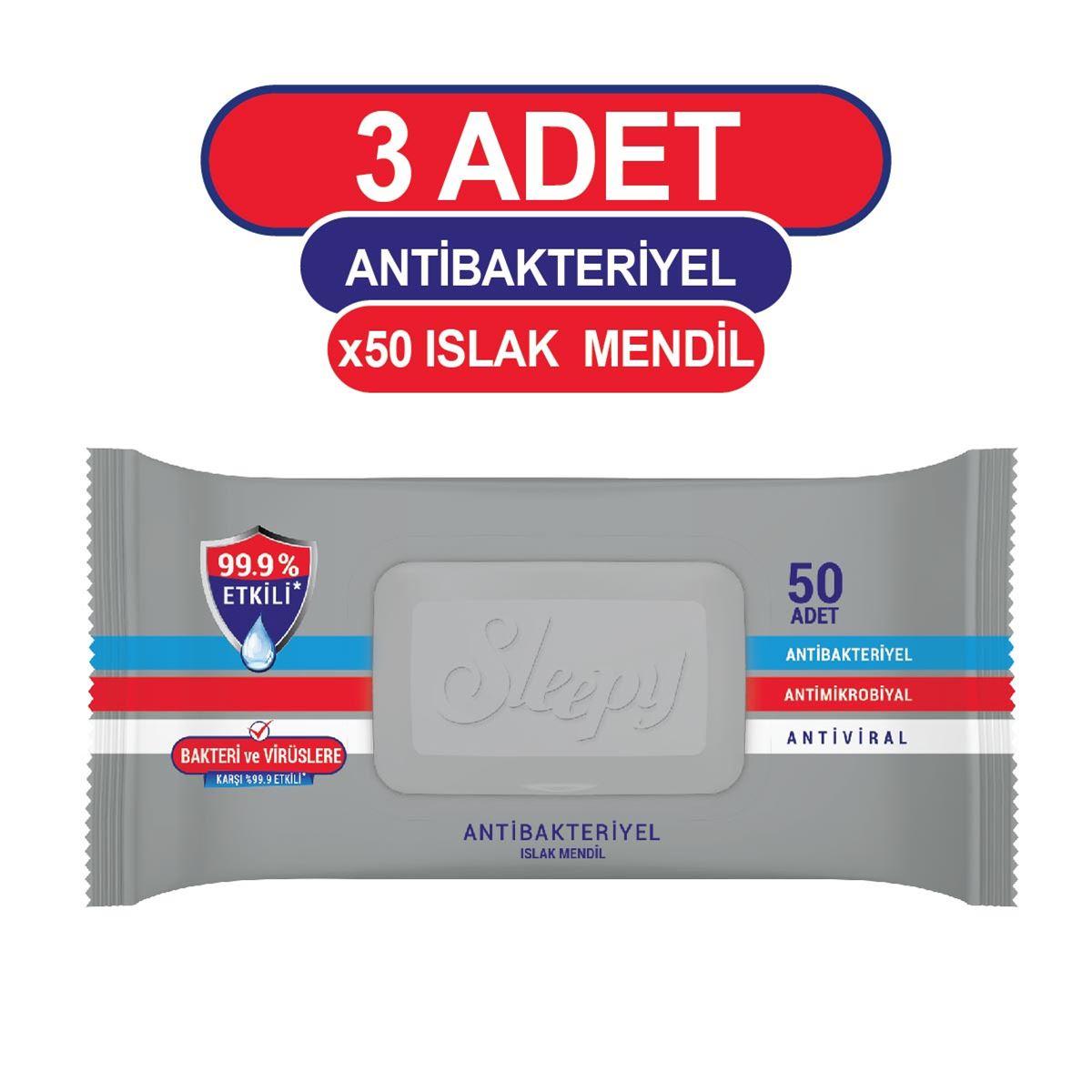 Sleepy Antibakteriyel Islak Havlu 3X50 Gri Paket