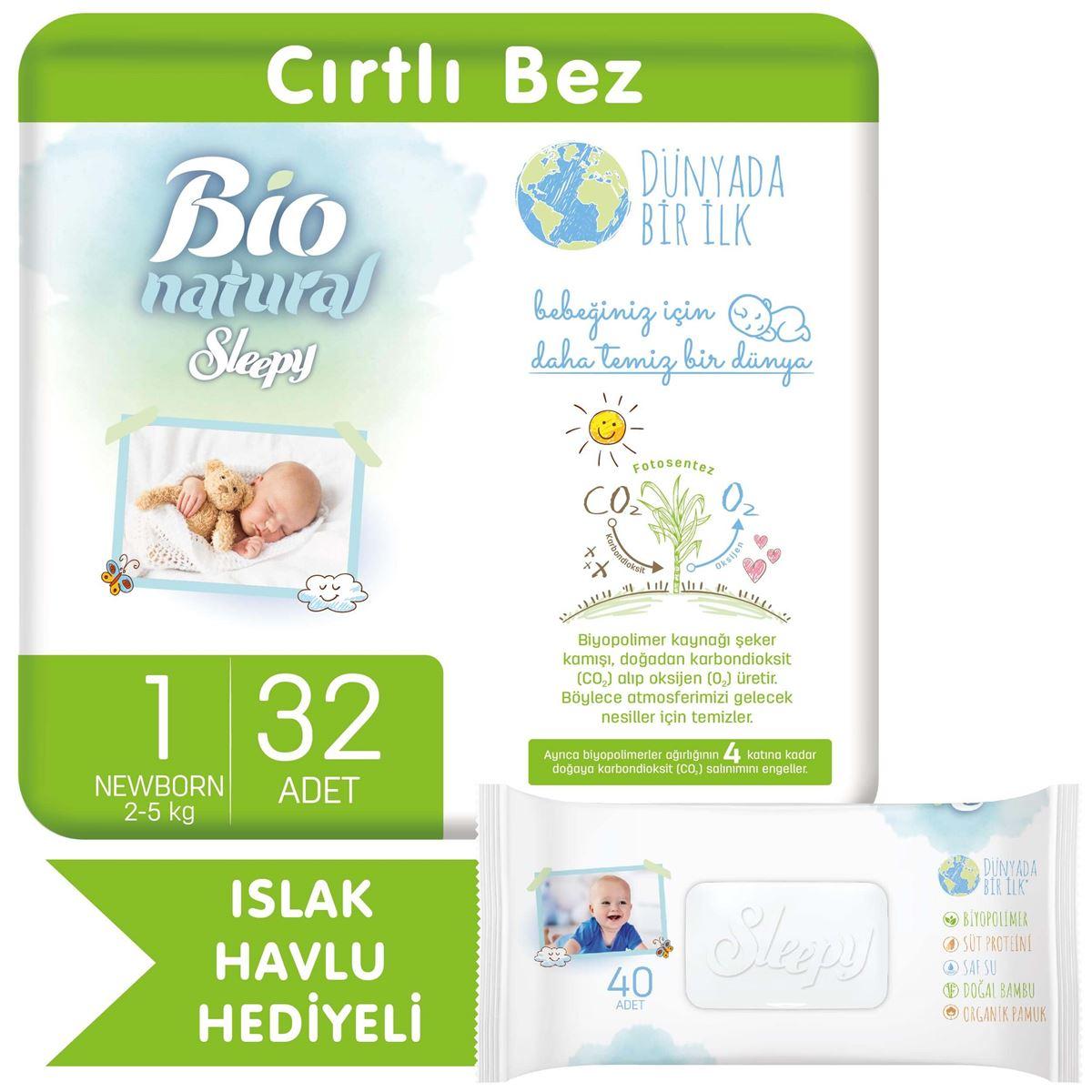 Bio Natural Bebek Bezi 1 Numara Yenidoğan 32 Adet + Bio Natural Islak Havlu Hediyeli