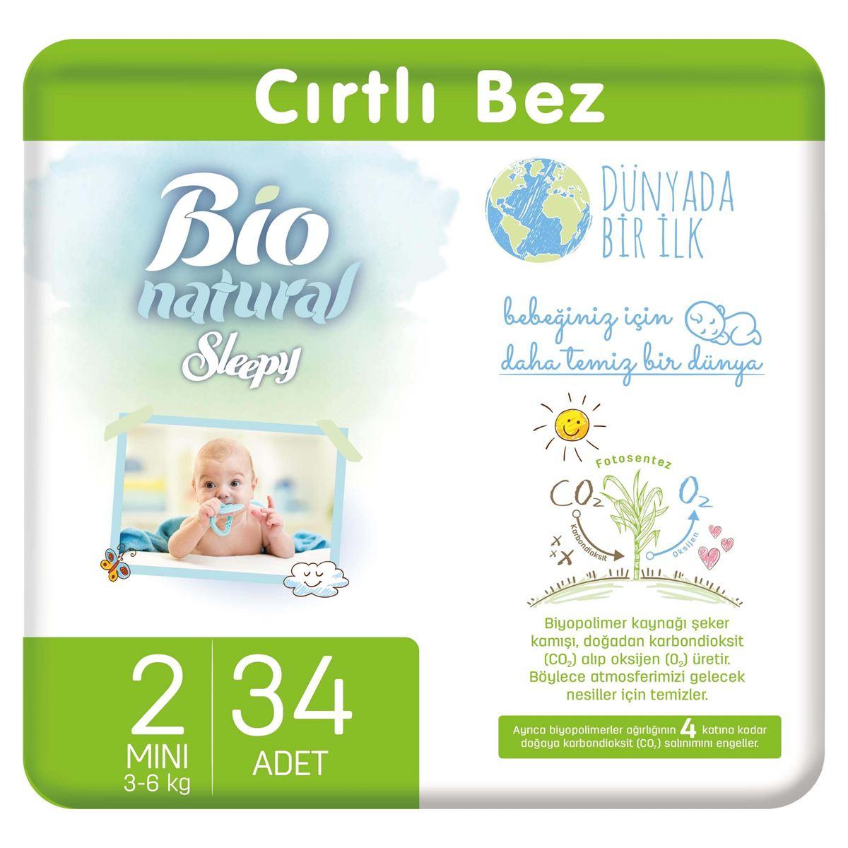 Bio Natural Bebek Bezi 2 Numara Mini 34 Adet