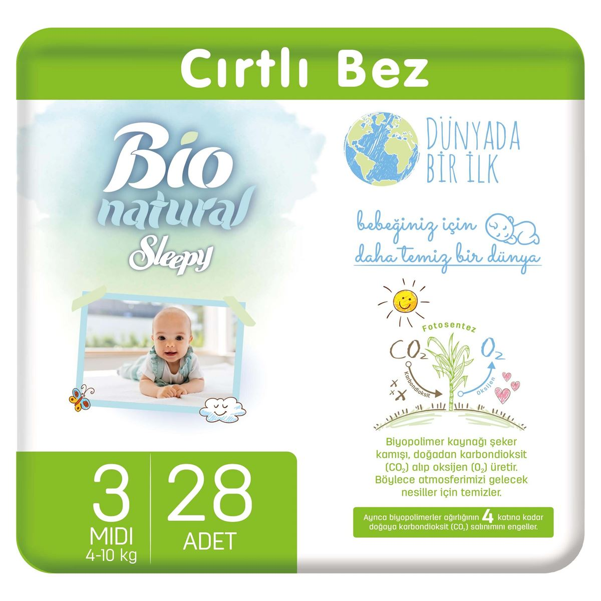 Bio Natural Bebek Bezi 3 Numara Midi 28 Adet