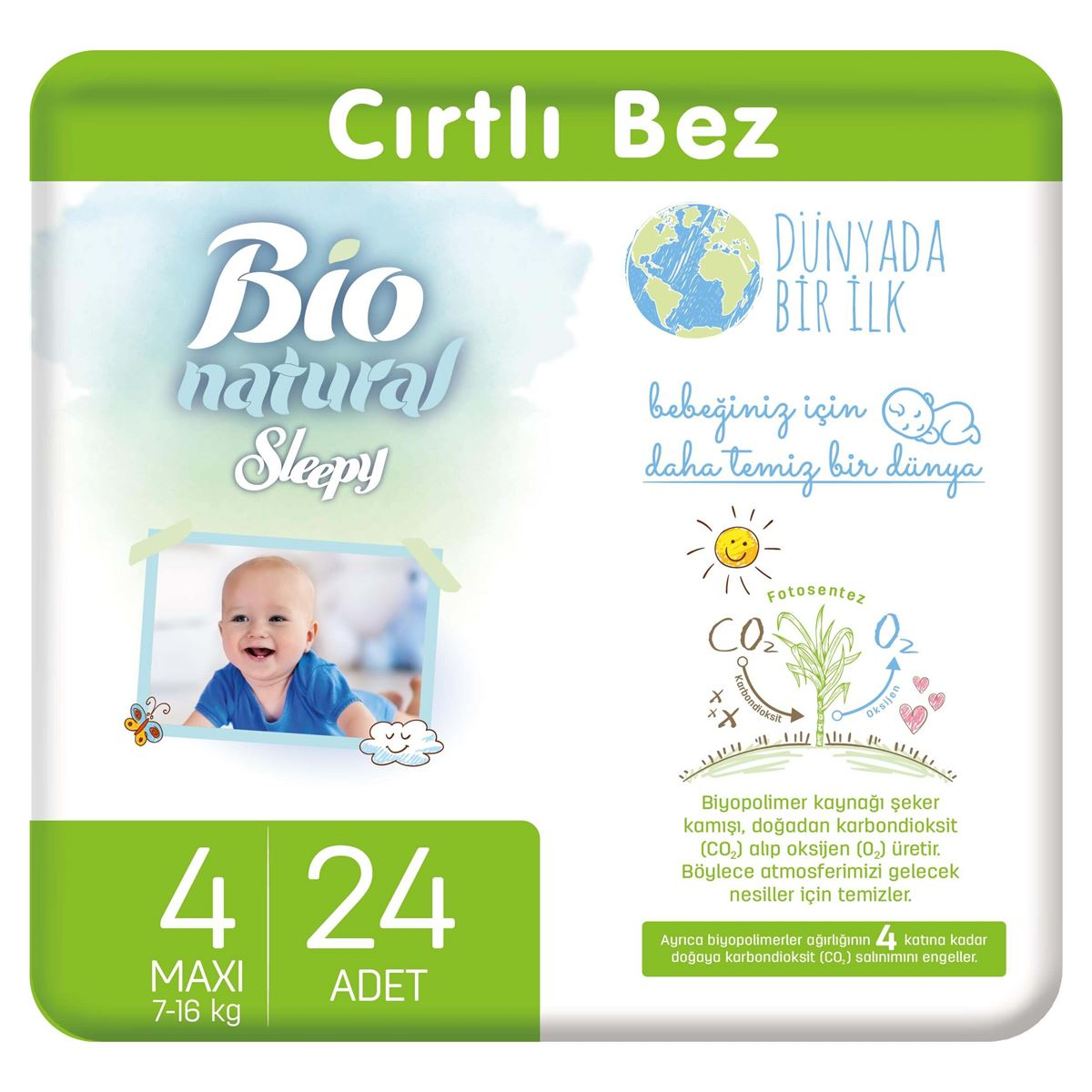 Bio Natural Bebek Bezi 4 Numara Maxi 24 Adet