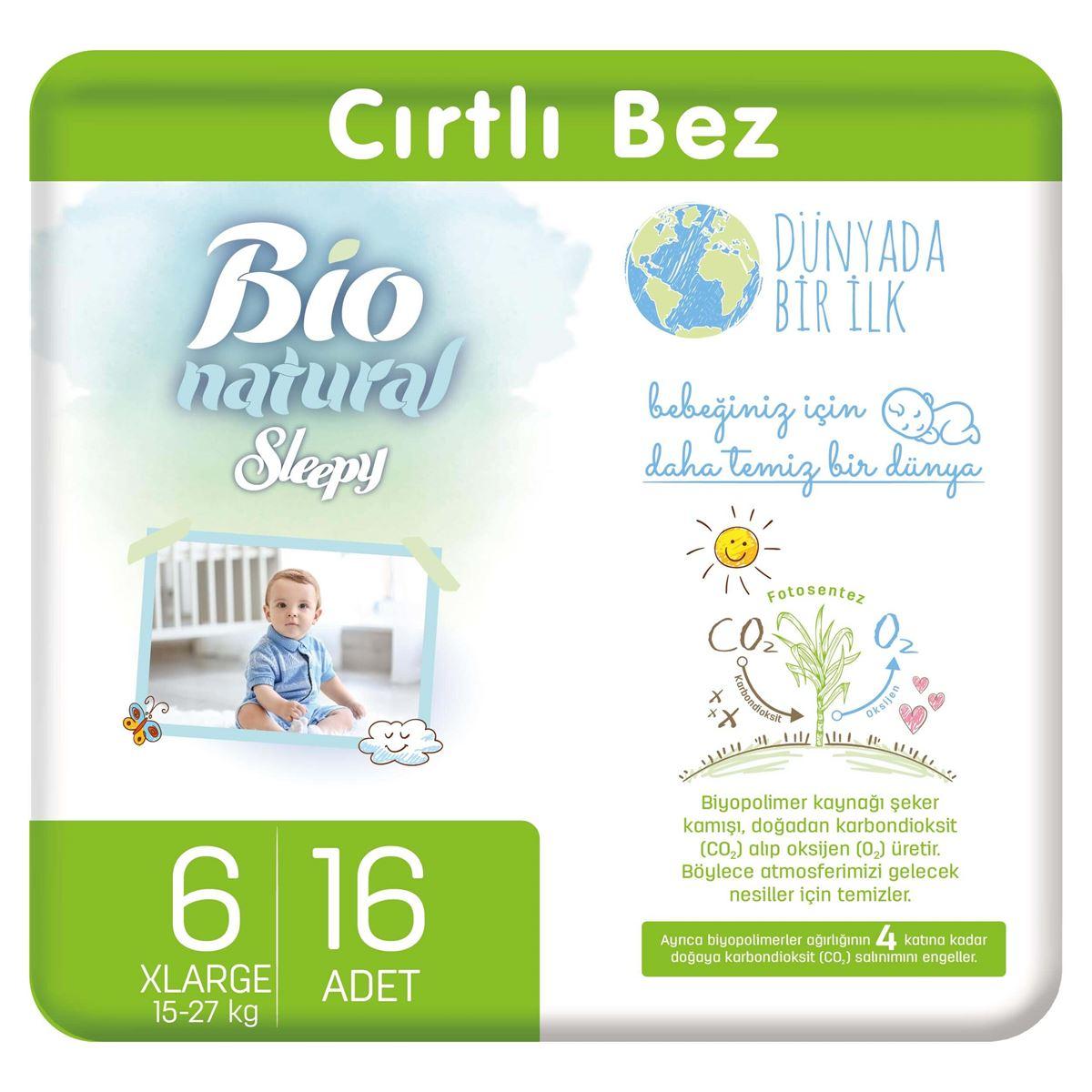 Bio Natural Bebek Bezi 6 Numara Xlarge 16 Adet