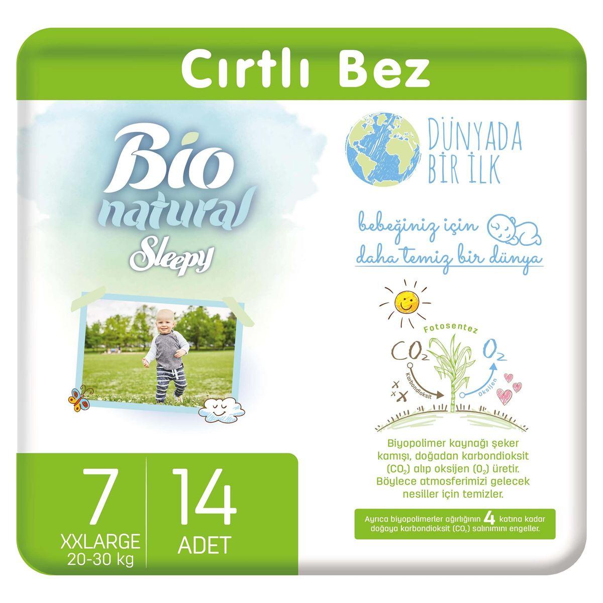 Bio Natural Bebek Bezi 7 Numara XXLarge 14 Adet