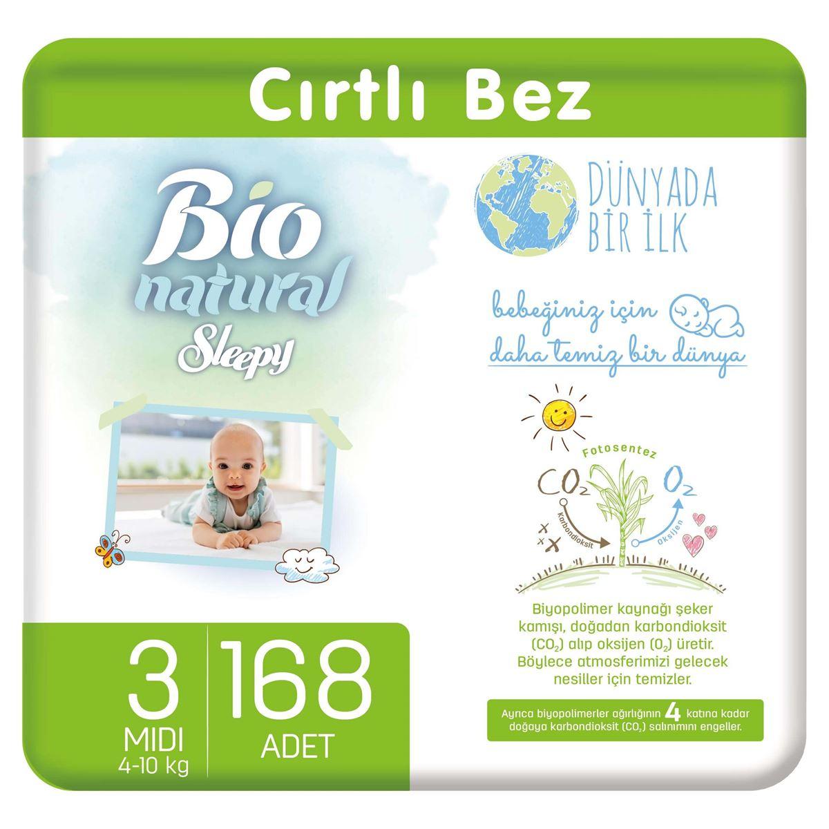 Bio Natural Bebek Bezi 3 Numara Midi 168 Adet