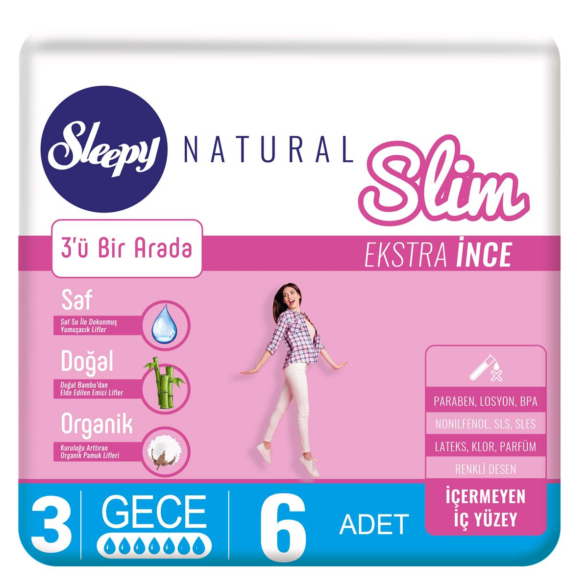 Sleepy Natural Slim Ekstra İnce Gece (6 Ped)