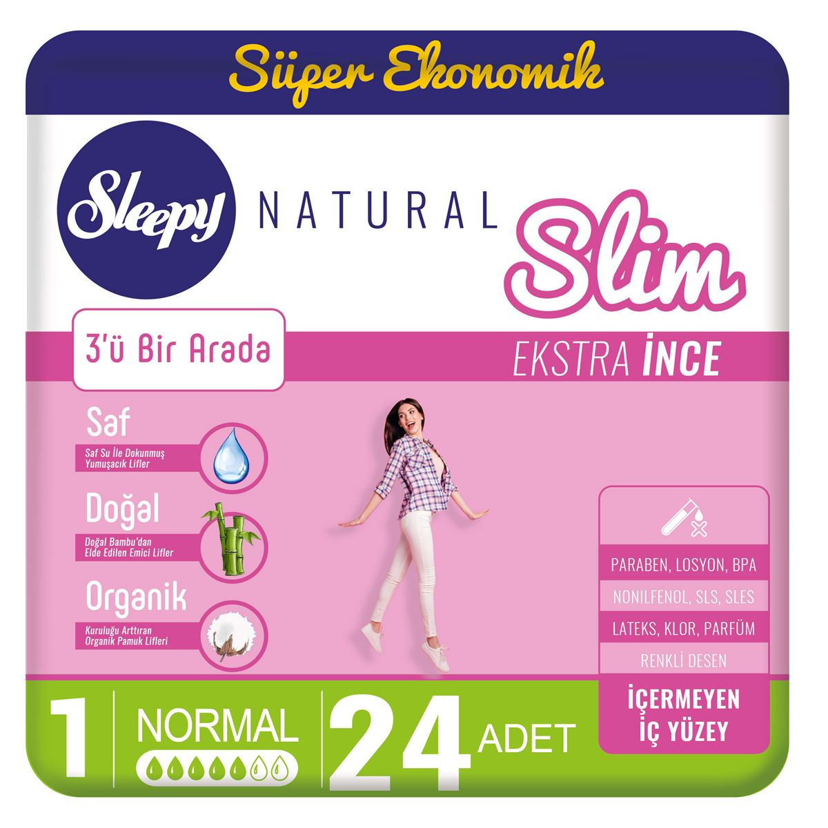 Sleepy Natural Slim Ekstra İnce Normal (24 Ped)
