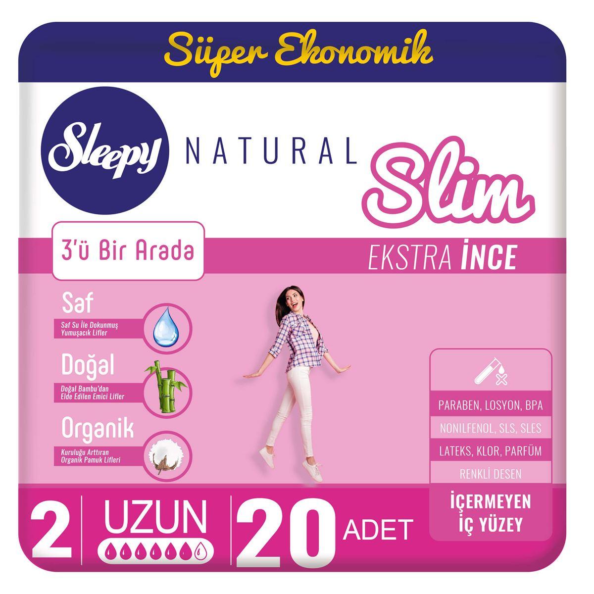 Sleepy Natural Slim Ekstra İnce Uzun(20 Ped)