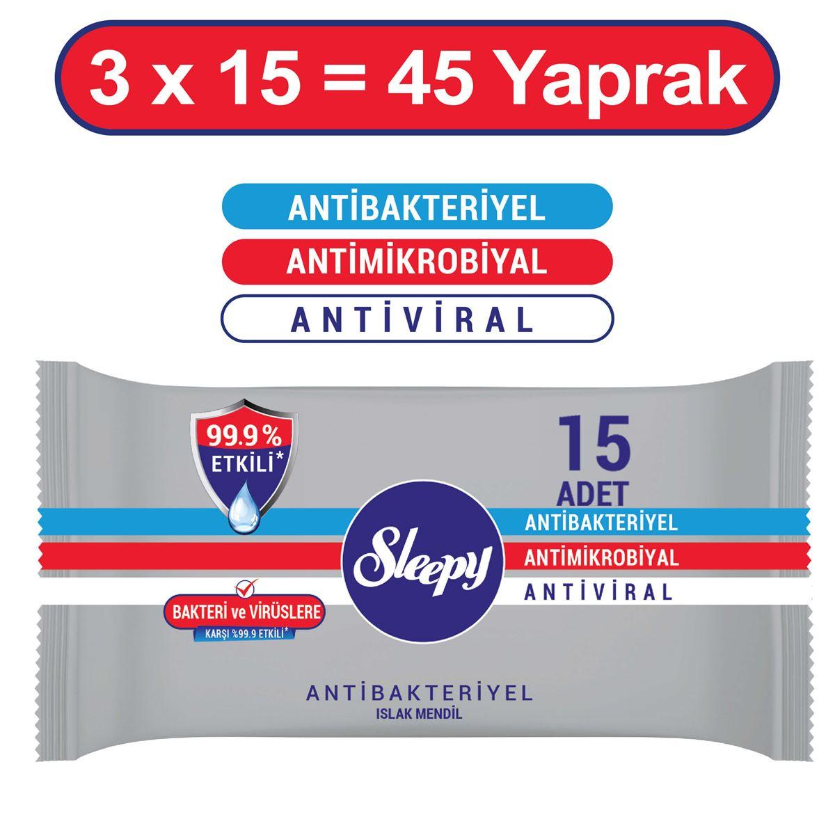 Sleepy Antibakteriyel Cep Mendili 3X15