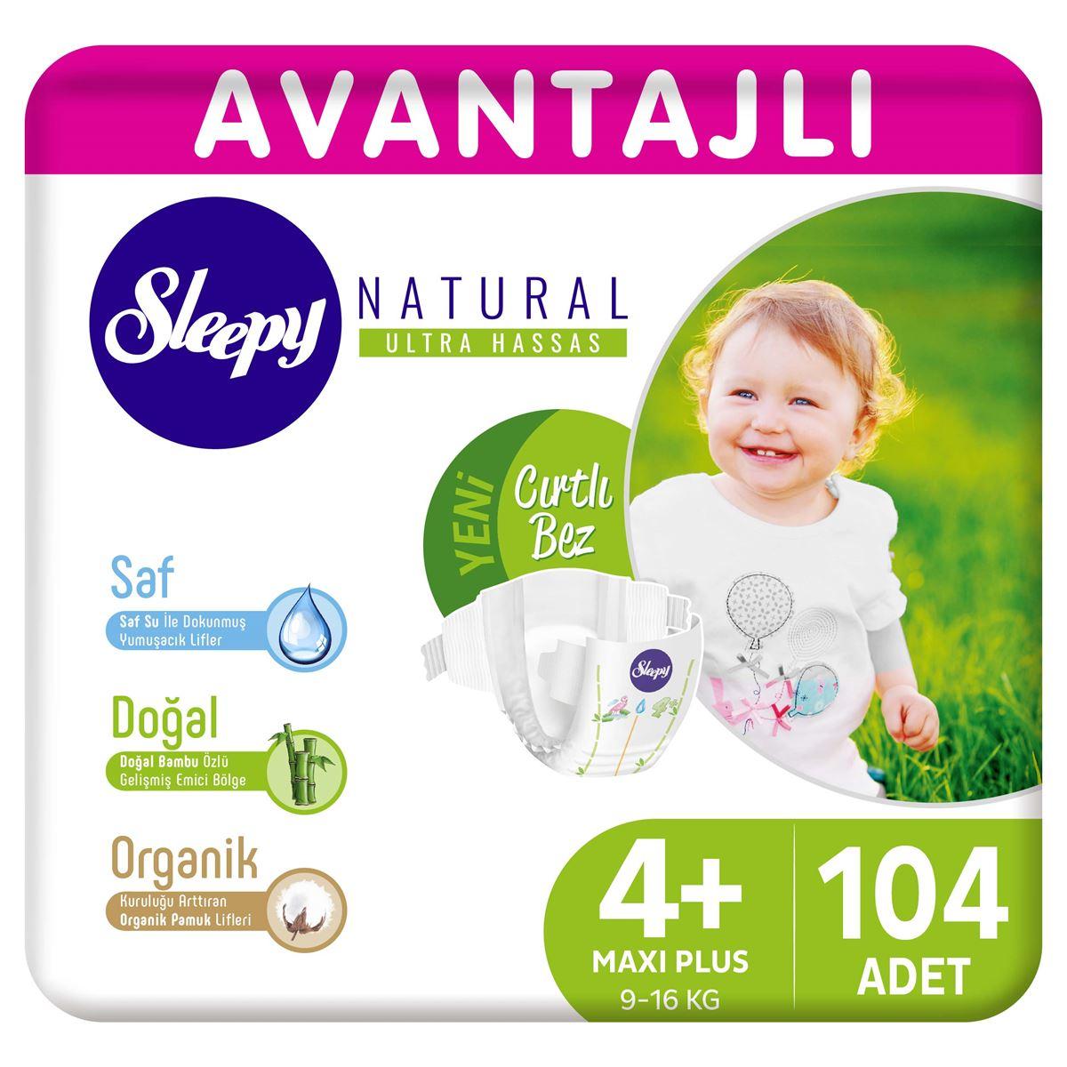 Sleepy Natural Avantajlı Bebek Bezi 4+ Numara Maxi Plus 104 Adet